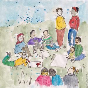 Illustriertes Bild vom Kipppunkt Kollektiv zu Bildung