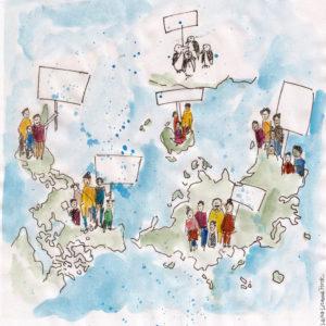 Illustratiertes Bild des Kipppunkt Kollektiv zu Klimagerechtigkeit