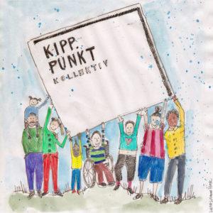 Illustriertes Bild vom Kipppunkt Kollektiv mit Plakat des Logos